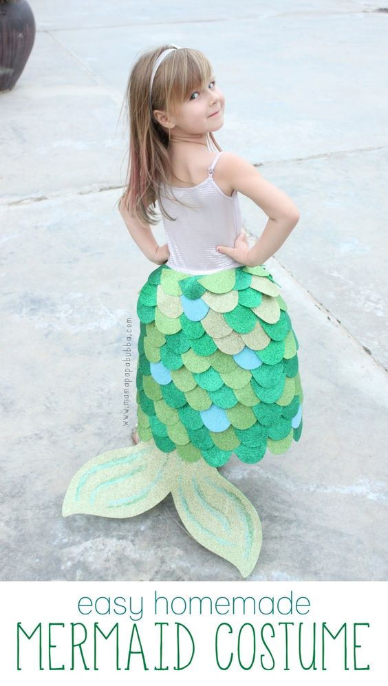 Easy Homemade Mermaid Costume for Little Girl.