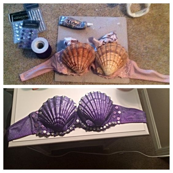 Ariel Mermaid Seashell Bra.