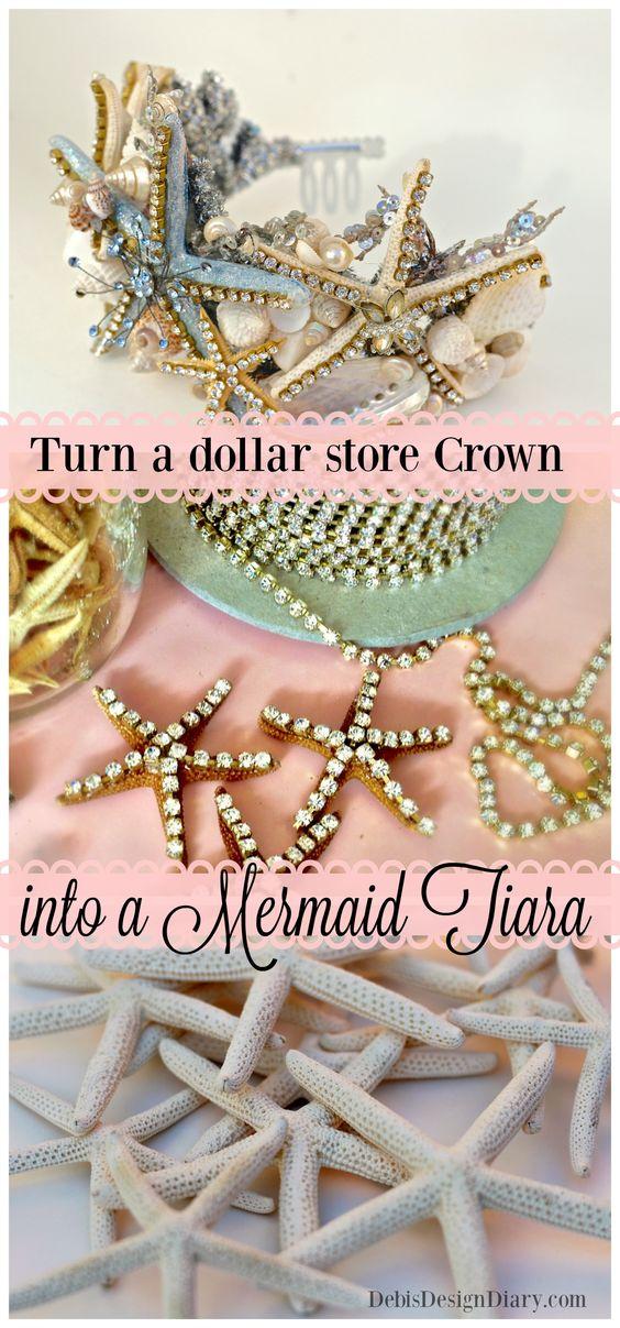DIY Mermaid Tiara from the Dollar Store Crown.