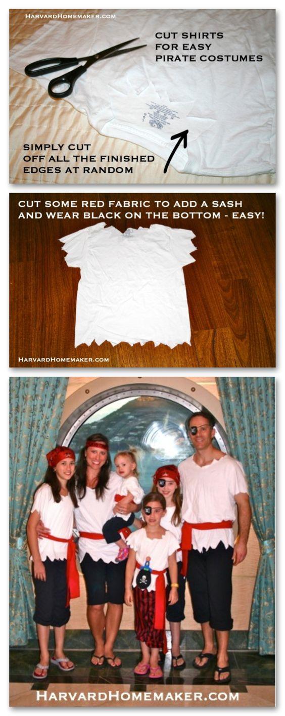 Easy DIY Pirate Costume Shirts.