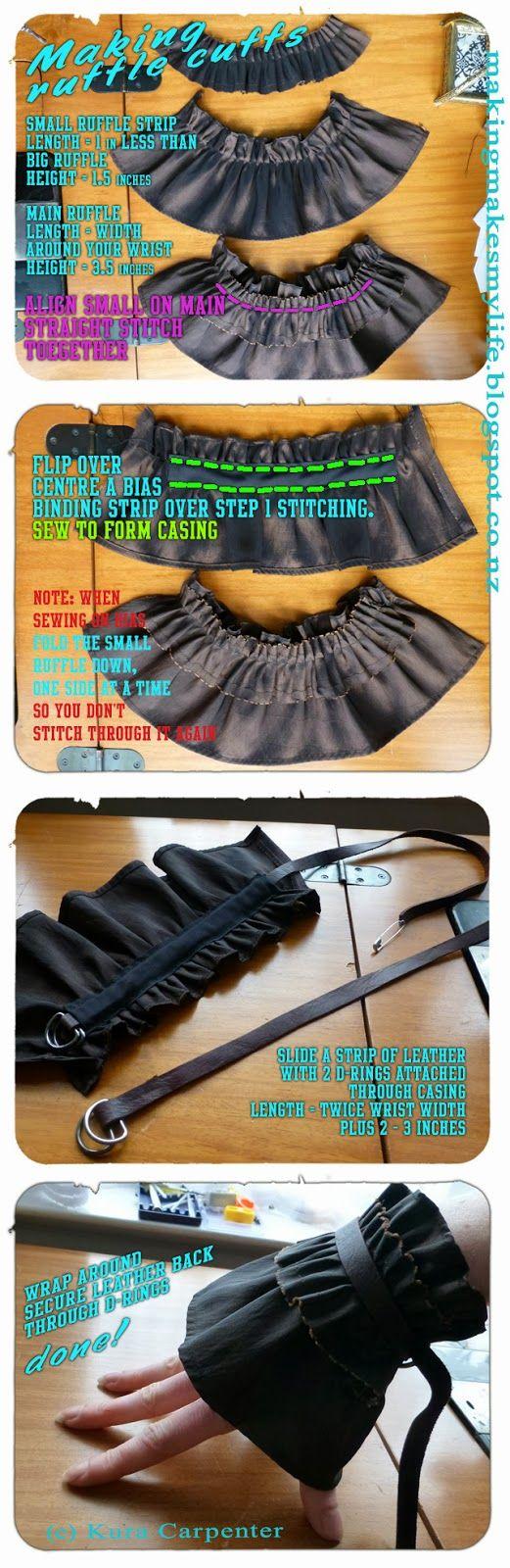 DIY Ruffle Cuffs for Pirate Costume.