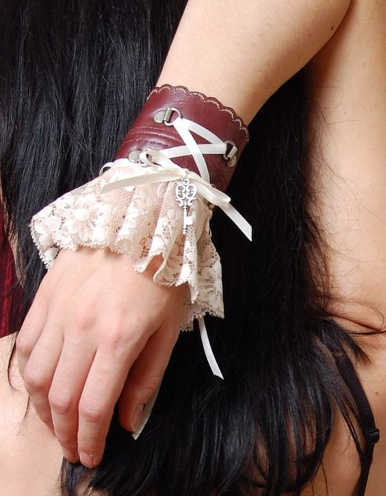 Salvaged Leather and Lace pirate Wrist Cuff.