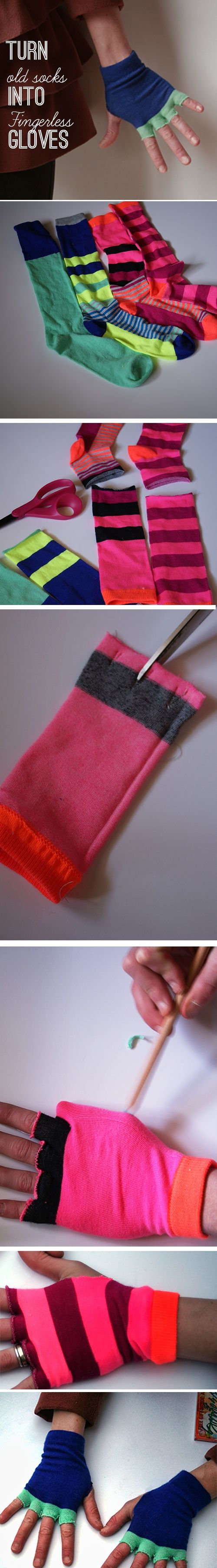 Old Socks to Fingerless Gloves for Pokemon Costume.