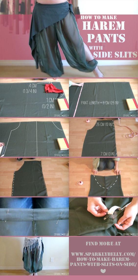 DIY Harem Pants with Slits on Side.