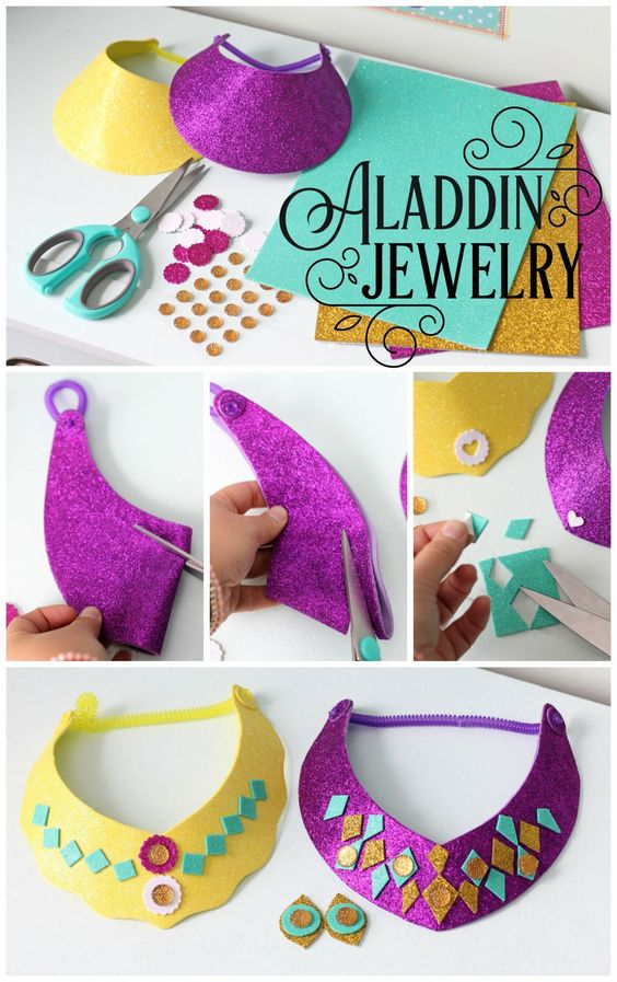 Easy to Make Glitter Princess Jasmine Necklace.