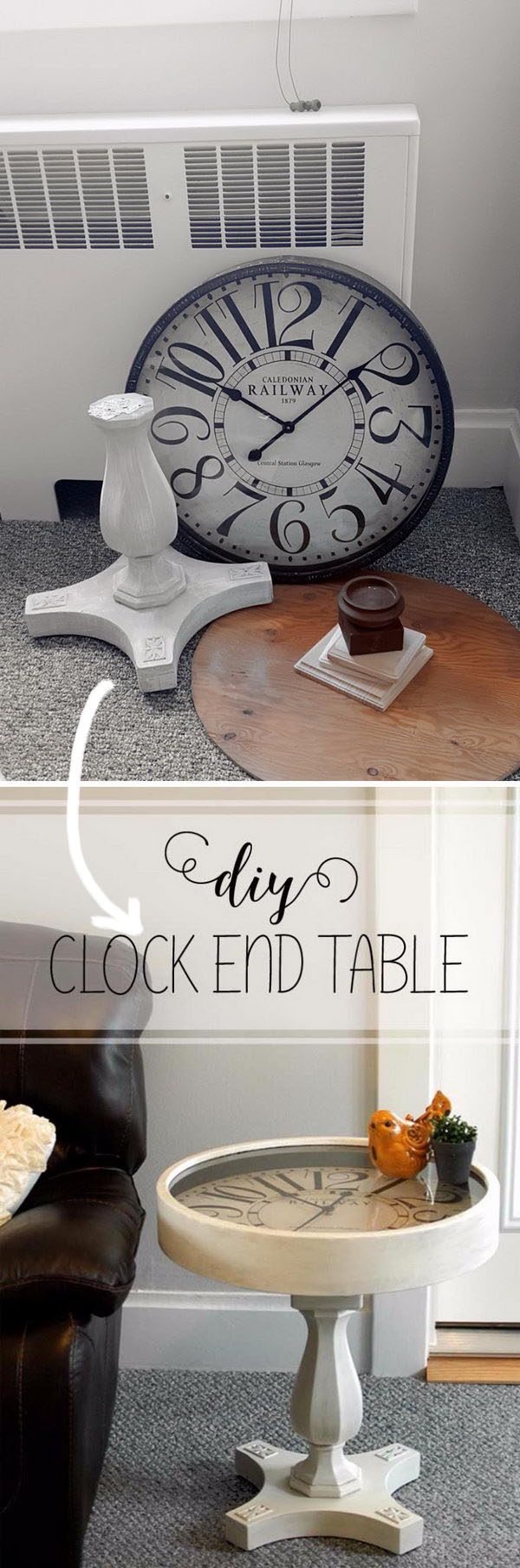 DIY Pedestal Clock End Table.
