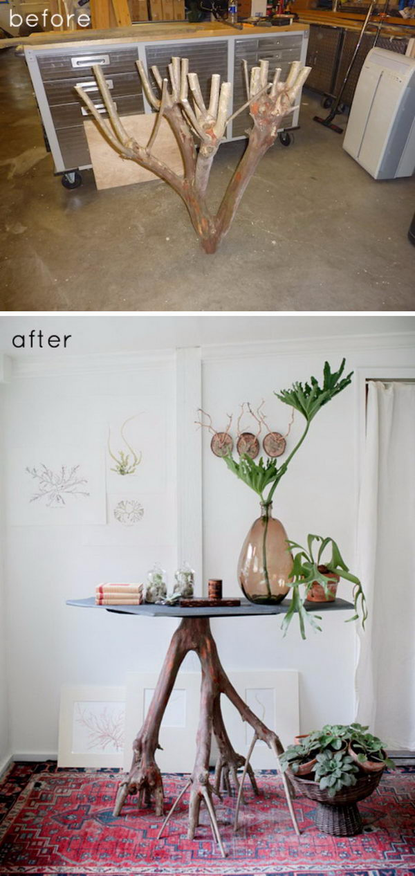 Recycled Slate + Branch Table.