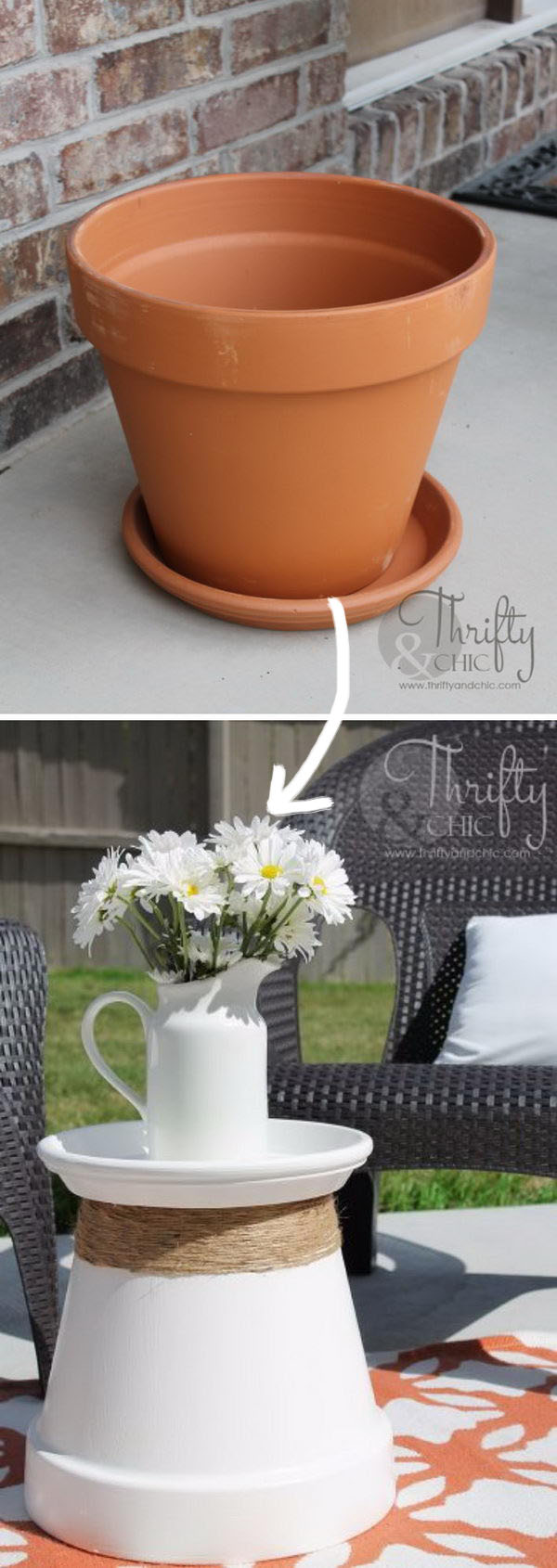 DIY Terracotta Pot Side Table.