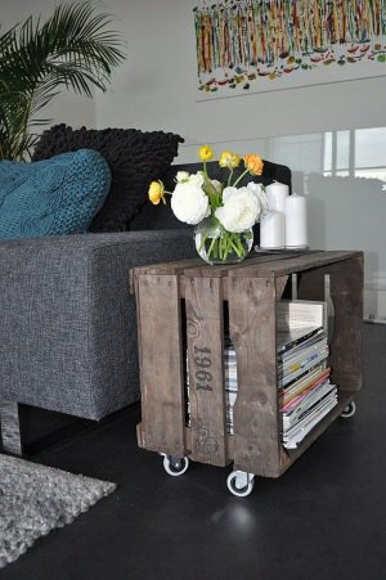 Recycled Old Crate Side Table.
