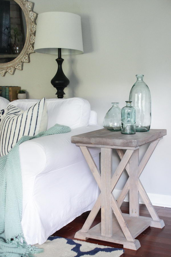 Farmhouse End Table With X Support Legs.