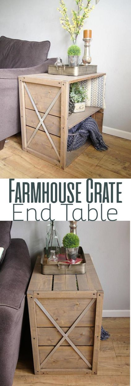 DIY Farmhouse Crate Side Table.