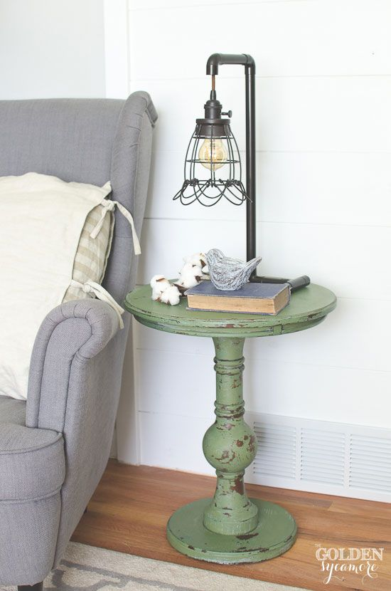 DIY Boxwood Milk Paint End Table.