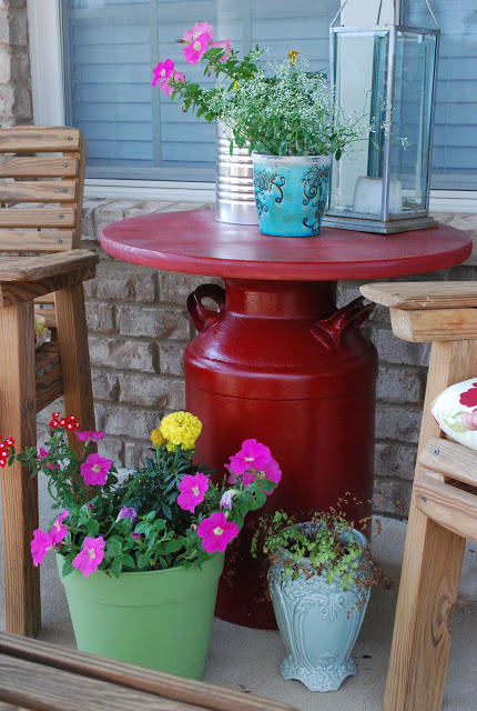 DIY Milk Can Side Table.