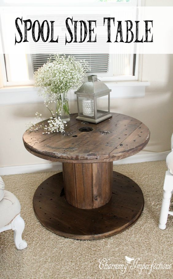 DIY Spool Side Table.
