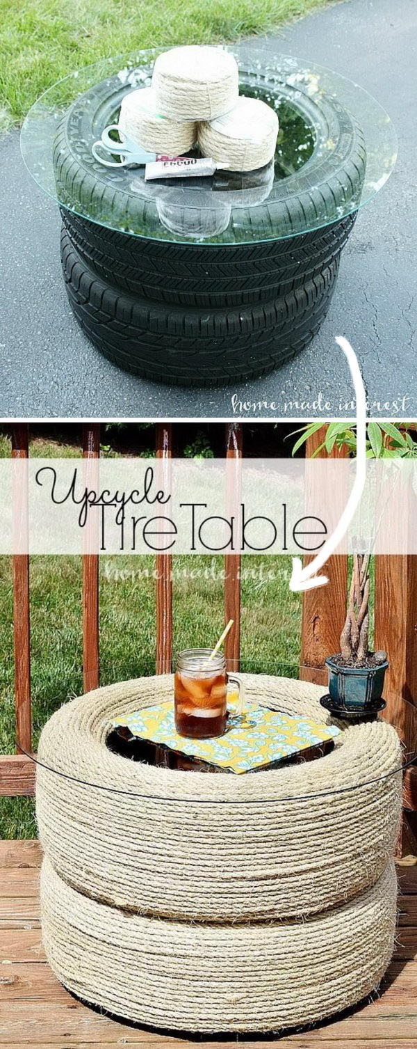DIY Recycled Tire Table.