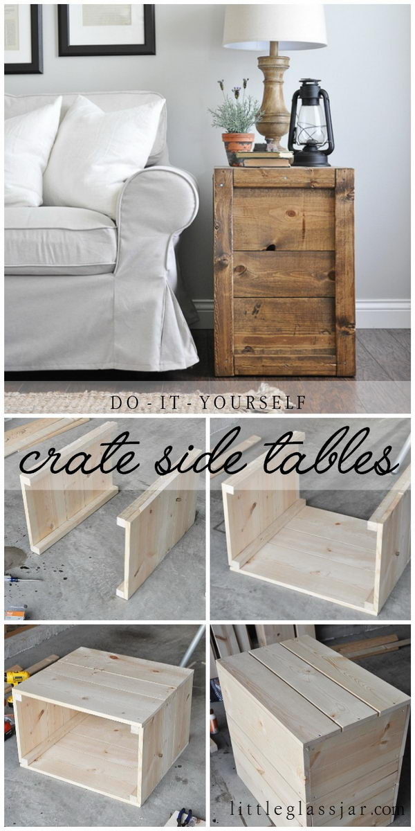 DIY Crate Side Tables.