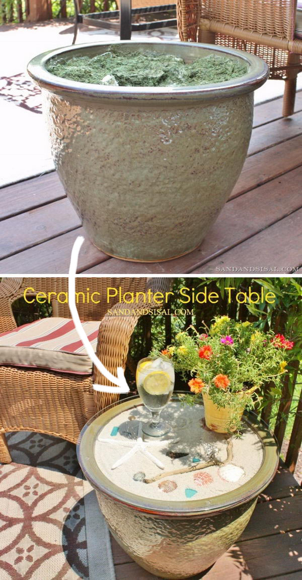 Ceramic Planter Side Table With Shells.