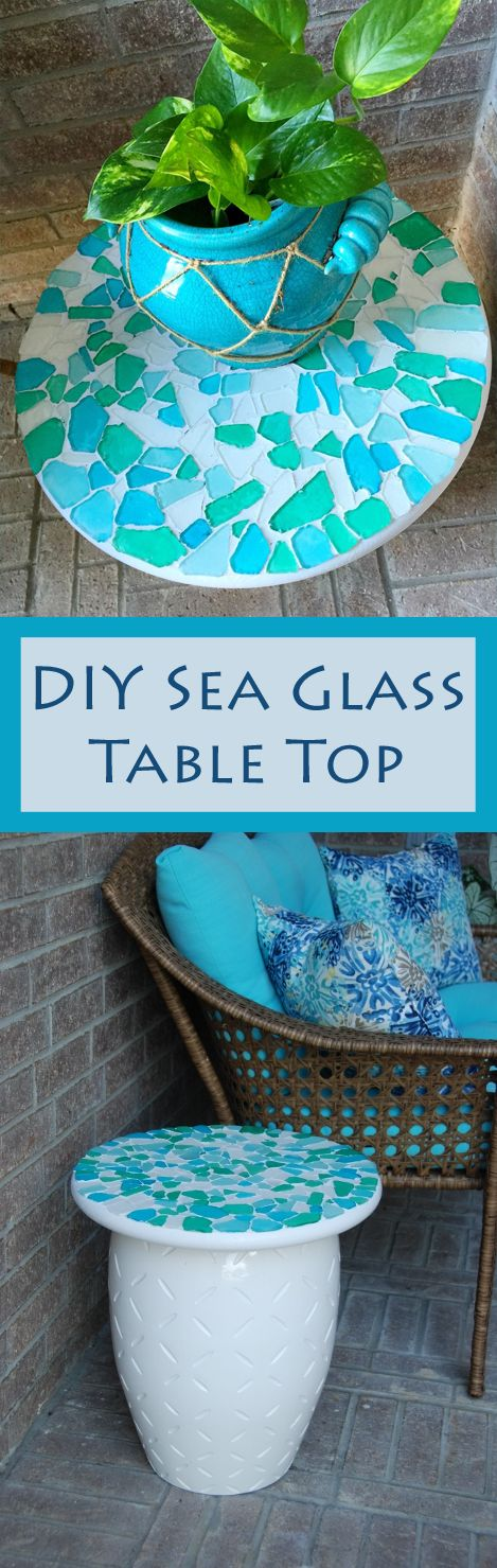 DIY Stool Side Table With A Sea Glass Table Top.