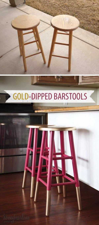 Gold Dipped Bar Stools.