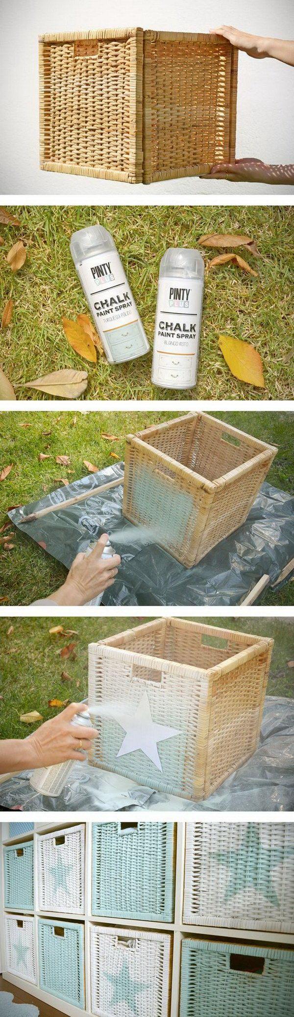 Silver Spray Painted Wicker Baskets.