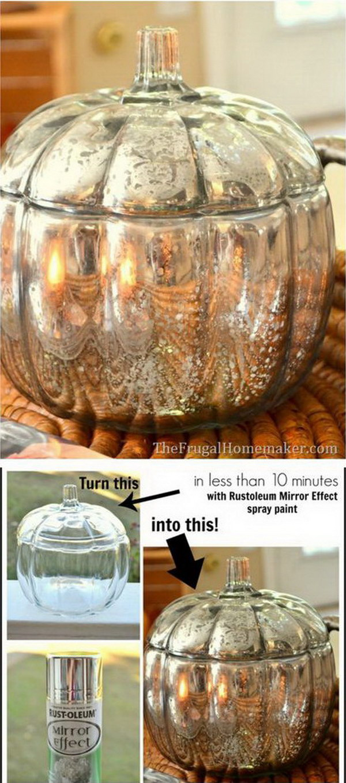 DIY Mercury Glass Pumpkin,