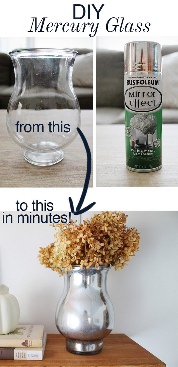 DIY Mercury Glass Vase.