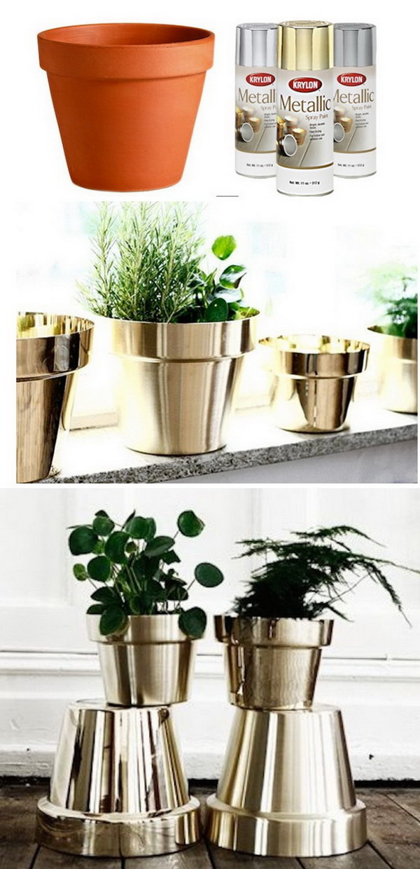 DIY Metallic Flower Pots.
