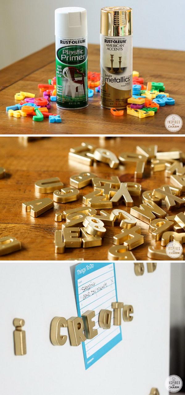 DIY Gold Magnetic Letters.