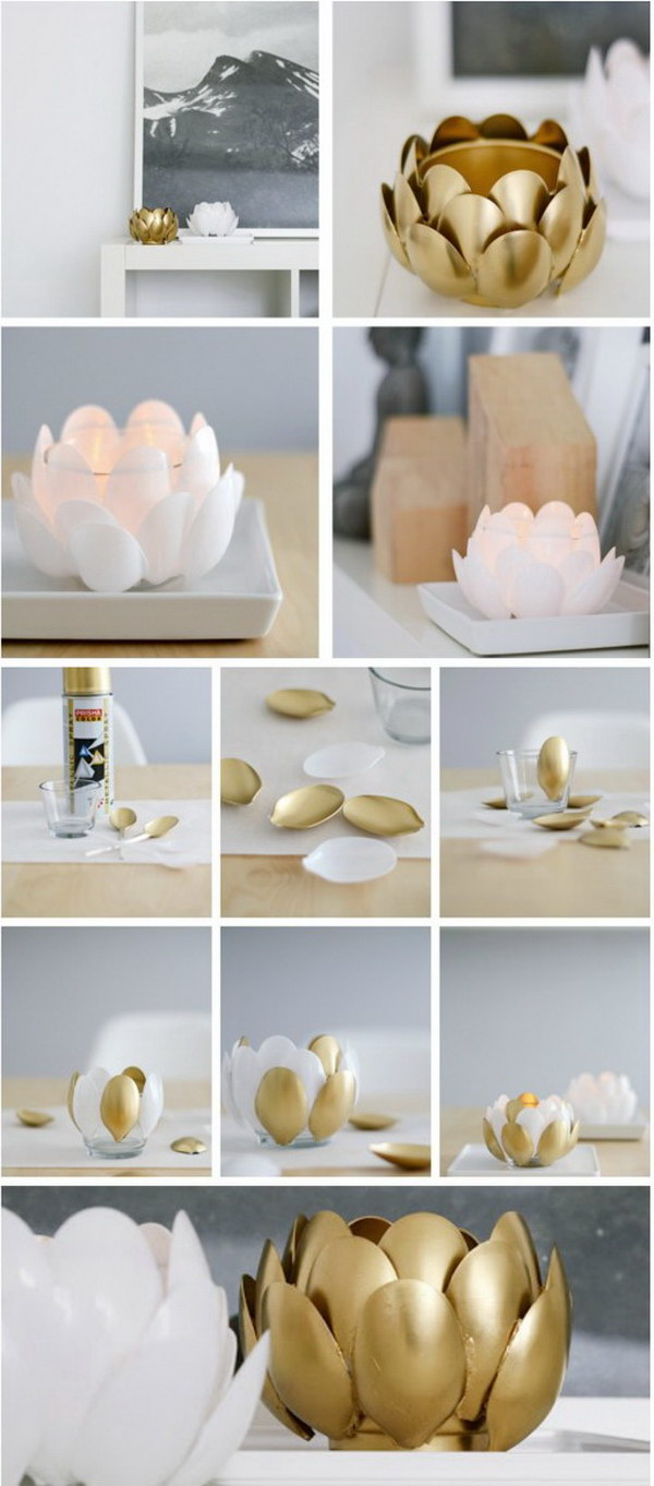 DIY Water Lilies Plastic Spoon Candle Holder.