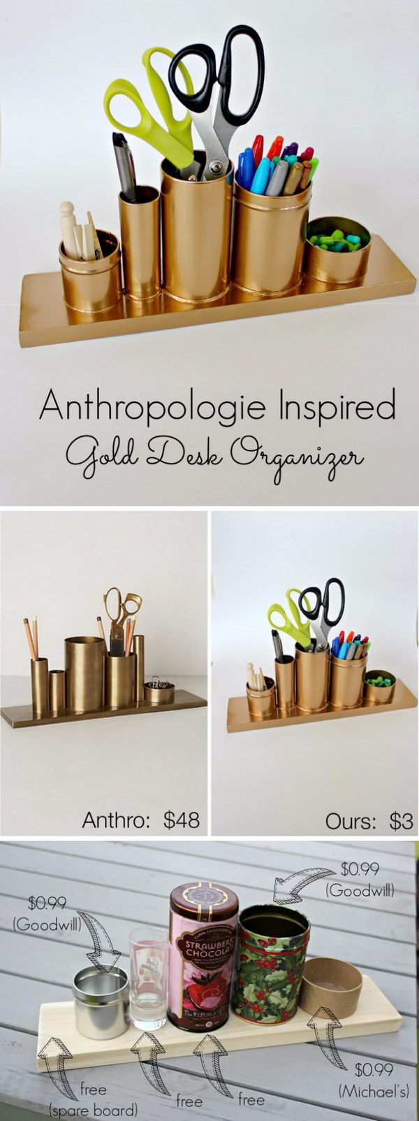 DIY Anthro Inspired Gold Pencil Holder.