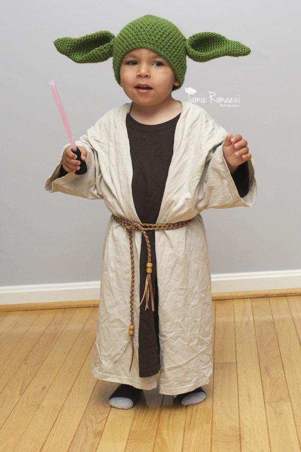 Easy Homemade Toddler Yoda Costume Using Men's Tees.