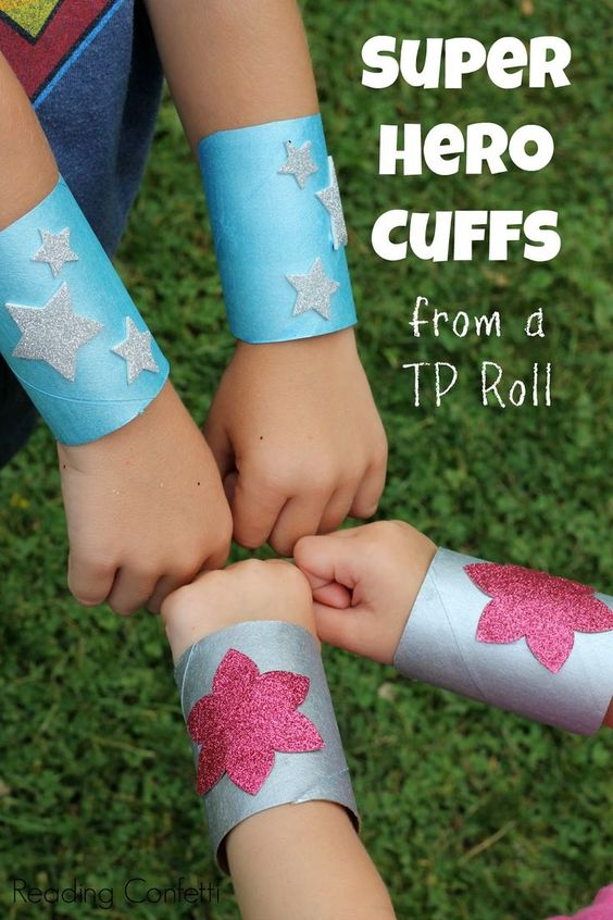 Super Hero Cuffs Made From Toilet Paper Rolls.