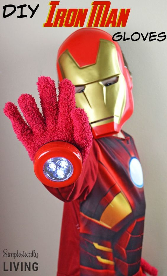 Dollar Store Iron Man Gloves.