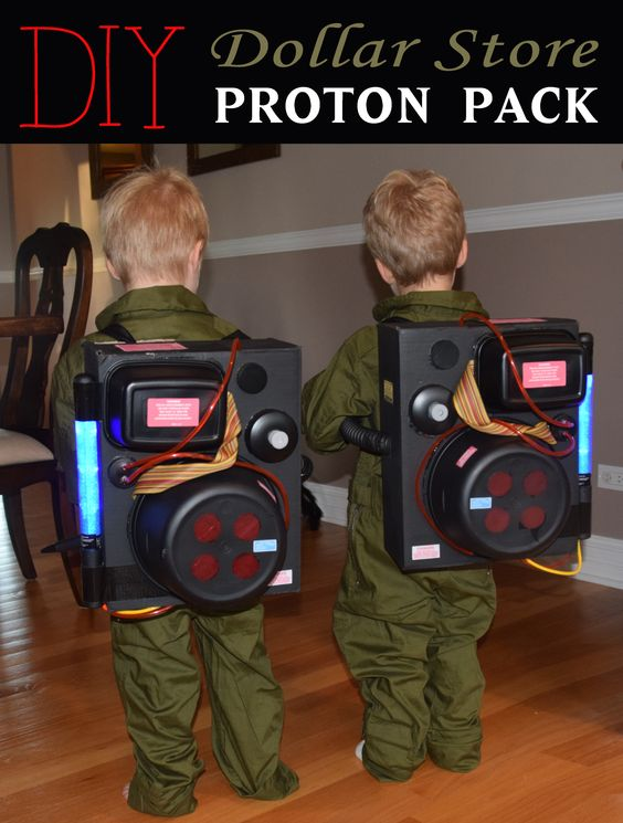 DIY Dollar Store Proton Pack and Ghostbusters Halloween Costume.