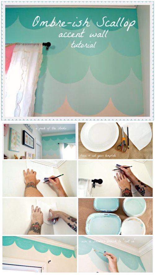 DIY Scallop Accent Wall For Mermaid Bedroom.