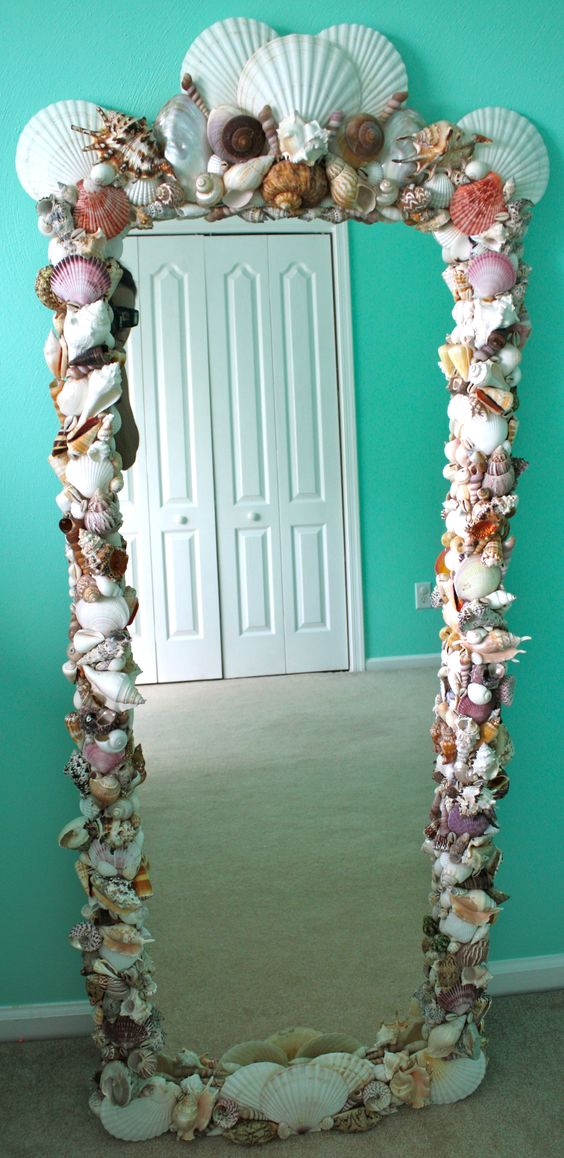 DIY Shell Mirror Using Shells From Michael's And Other Craft Stores.