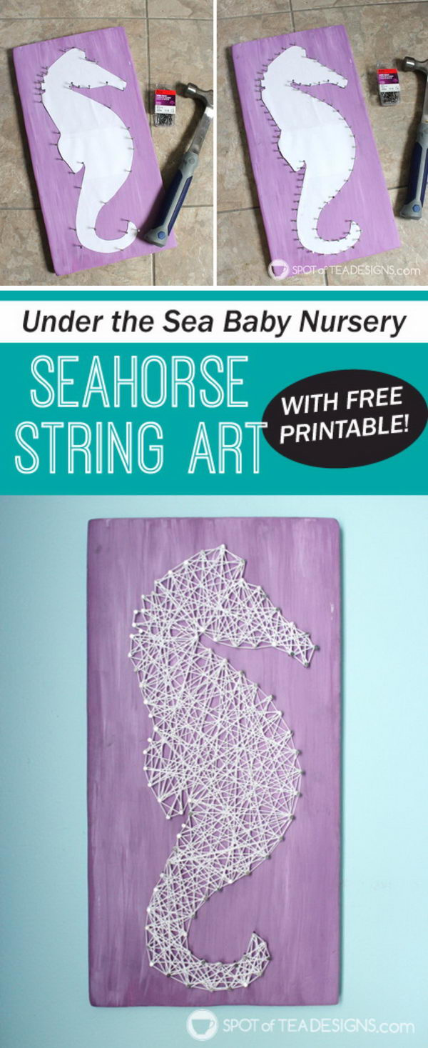 Seahorse String Art with Free Printable.