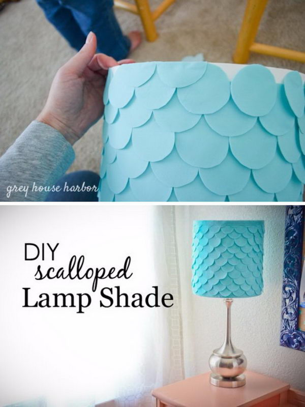 DIY Fish Scale Lampshade Using Circles Of Felt And Tacky Glue.