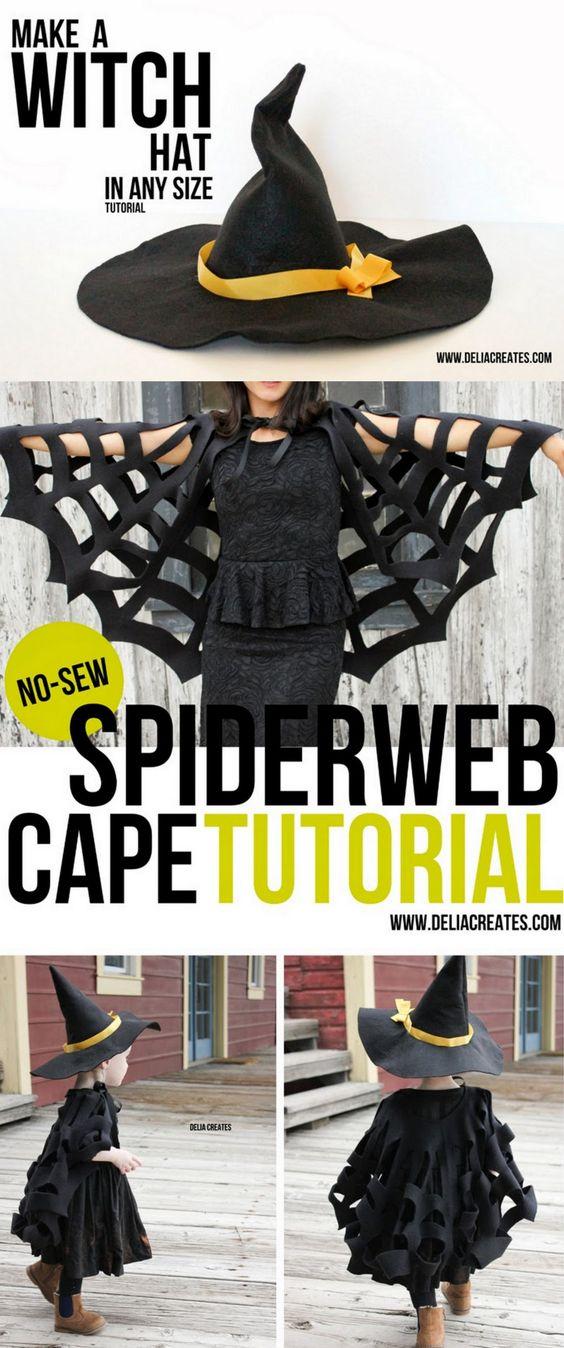 Witch Spiderweb Cape Costume.