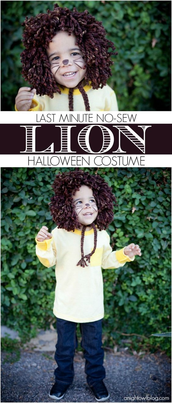 Easy No Sew Lion Wizard of Oz Costume.