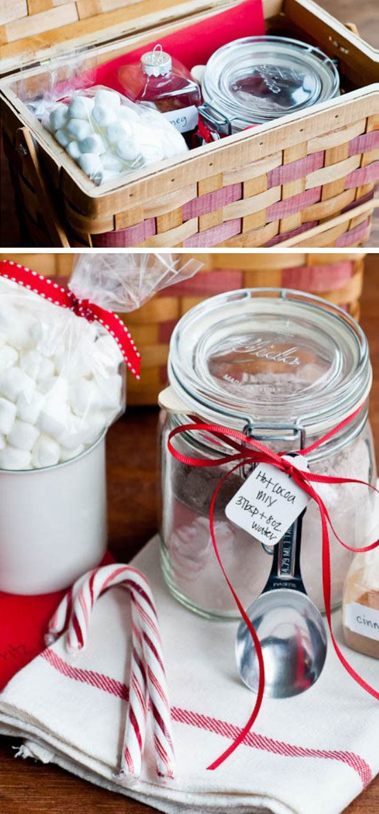 DIY Hot Cocoa Mix Gift Basket.