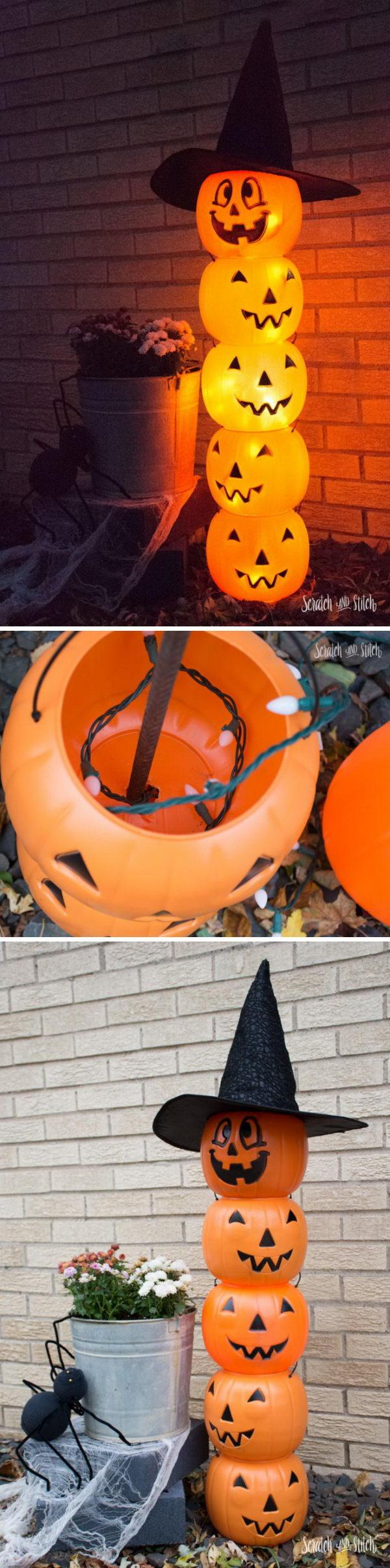 Glowing Plastic Jack O  Lantern Totem.