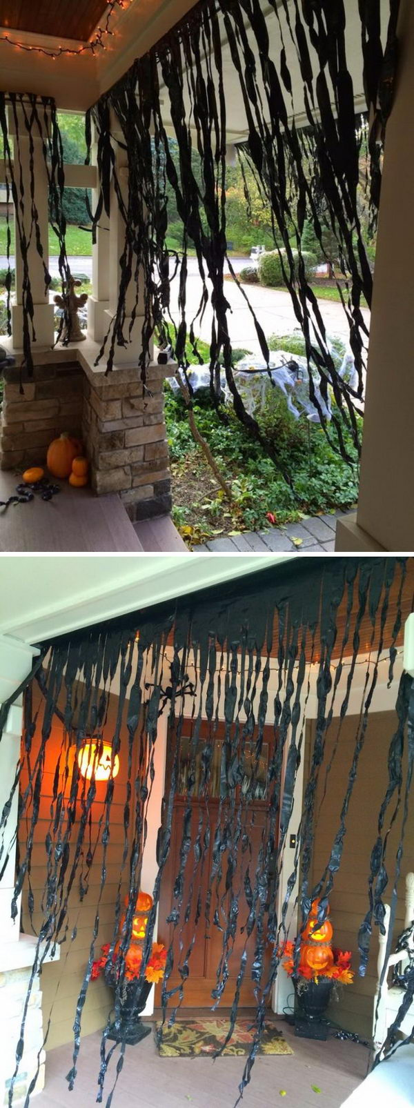 Cut Up Black Plastic To Make A Spooky Porch.