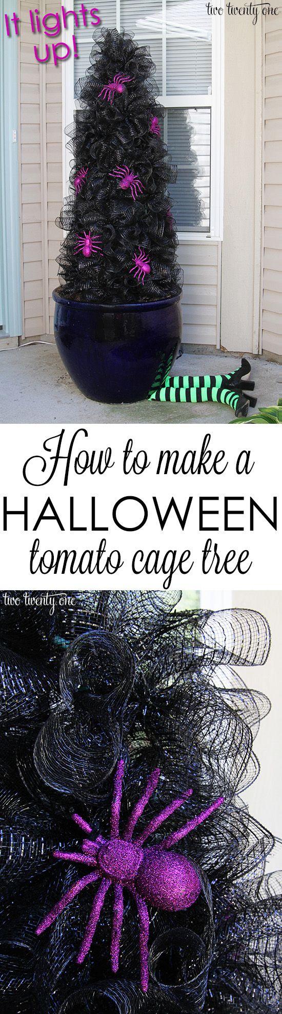 Halloween Tomato Cage Tree.