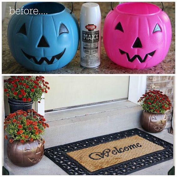 Spray Painted Pumpkin Planters.