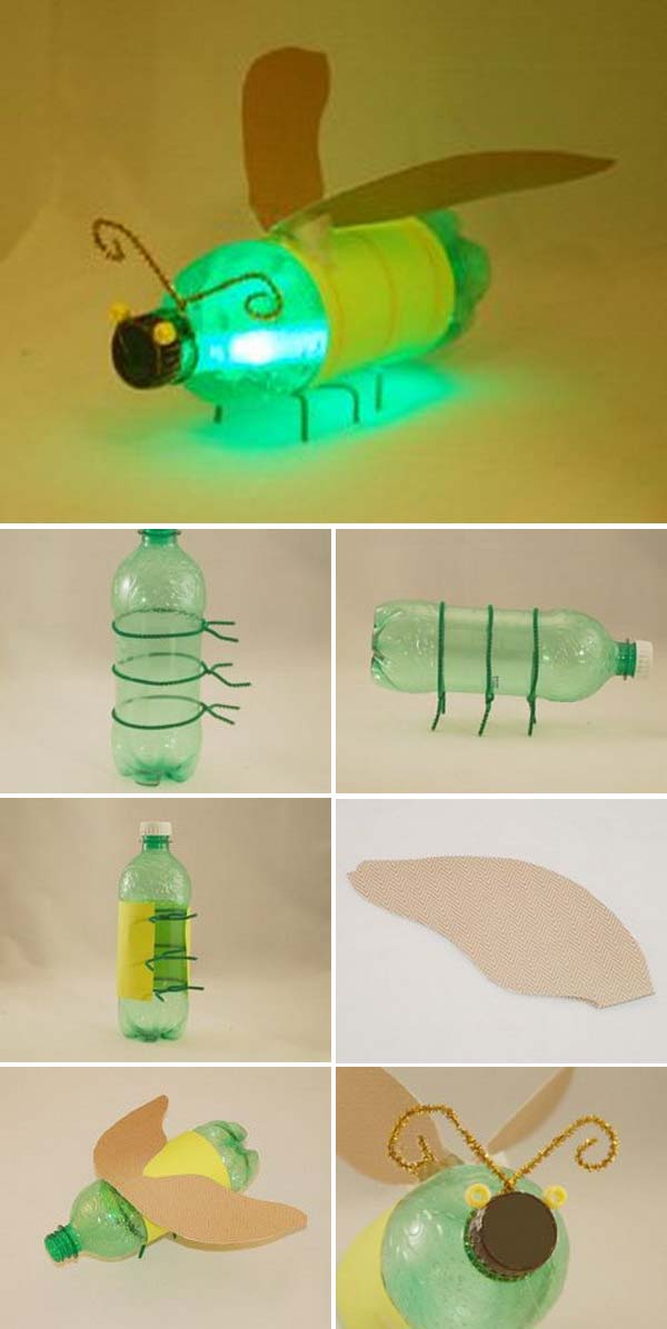 Bottle Bug with a Glow Stick in It.