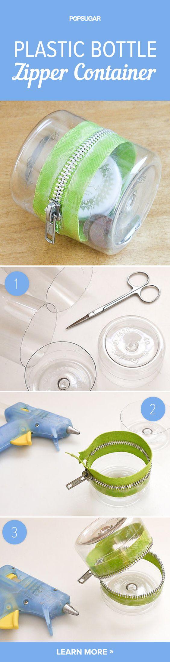 Plastic Bottle Zipper Container.