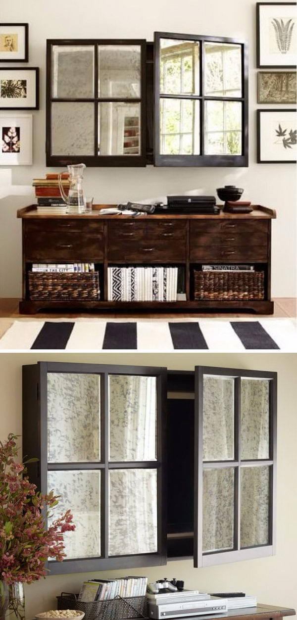 Hide The TV Inside A Mirror Cabinet.