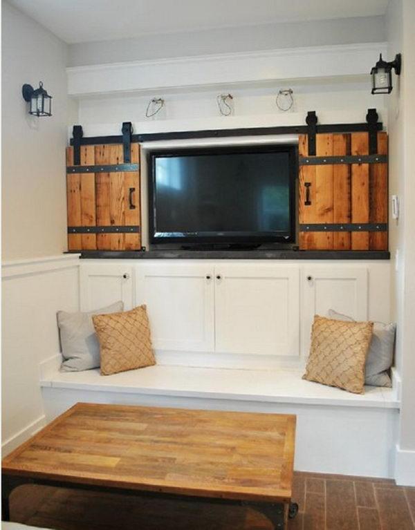 Hide TV With Sliding Barn Doors.