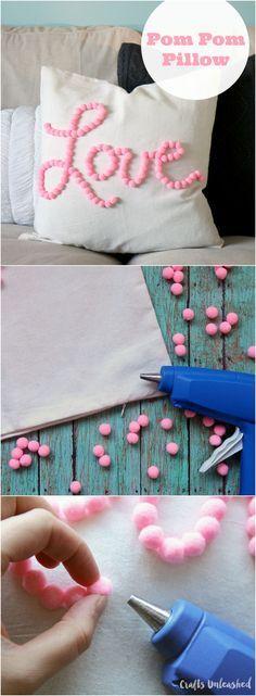 DIY Love Themed Pom Pom Pillow.